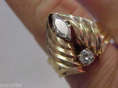Beautiful Estate 14k Gold Marquise & Round Diamond Ring size 7   Make Offer