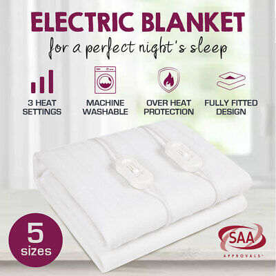 Premium New 2018 Model Smart Fitted Electric Blanket Machine Washable All Sizes