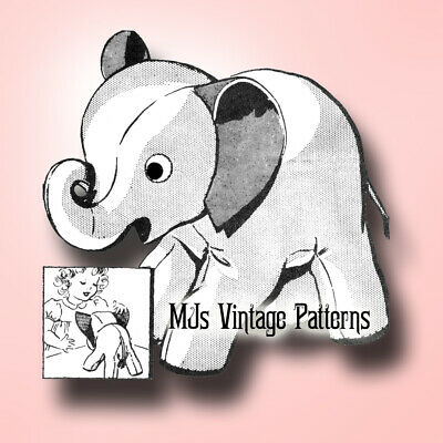 "Stuffed Elephant Vintage Pattern with Curled-Up LUCKY Trunk ~ 12"" long"