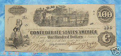 1862 Confederate States $100, 9/23/1862, Very Nice  p-108