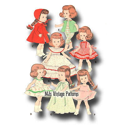 """Vtg 50s 8"""" Ginny, Wendy Doll Clothes Dress Pattern ~ Dress, Coat, Hat, Nightgown"""