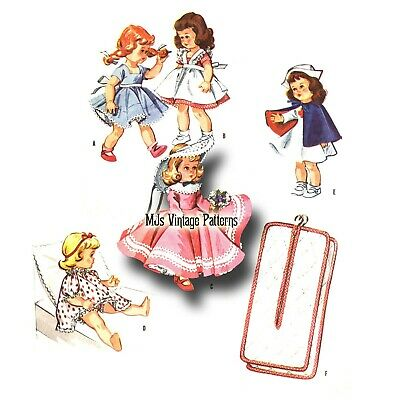 "Vtg Doll Clothes Pattern Ginny Wendy Ginger Alexander-kins Muffie 7.5"" 8"" 1950s"