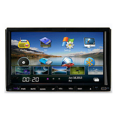 "In Dash HD 7"" LCD DIY UI Car DVD GPS Player Stereo Radio Bluetooth iPod+Free Map"