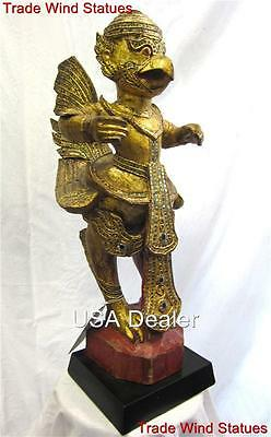 2ft Antique GOLD GUILDED TEAK WOOD Rare Thai GARUDA STATUE Phoenix Eagle #542-I