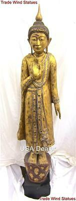 6ft Antique BURMESE MANDALAY STANDING BUDDHA Statue GOLD GILDED Teak Wood #548-I