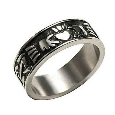 Mens Irish Claddagh Ring - Irish Celtic Ring - Wedding Crown Heart Ring For Men