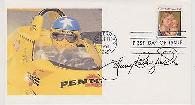 Signedjohnny Rutherford Fdc Autographed First Day Cover Cachet Indy 500