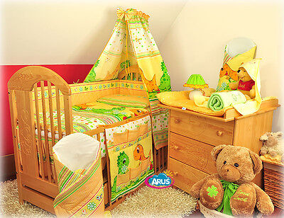 "Baby bed set 16-parts: Cot with drawer ""Bear wiith balloon"" + mattress + bedding"