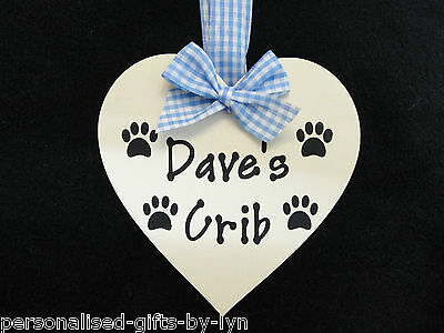 Personalised Name Plaque Dog / Cat Wooden Heart Shape