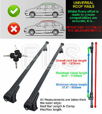 NISSAN JUKE MICRA NOTE UNIVERSAL ANTI-THEFT ROOF BARS for ROOF RAILS - BLACK