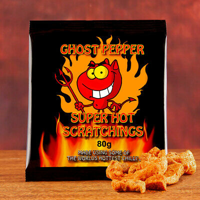 Chilli Wizards Ghost Pepper Pork Scratchings. Extreme Heat. Naga Jolokia 80g