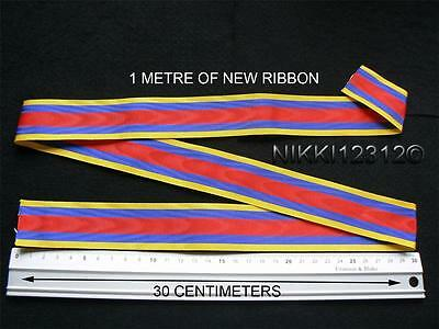Full Size 1 Metre Of Pingat Jasa Malaysia Medal Ribbon In Mint Condition
