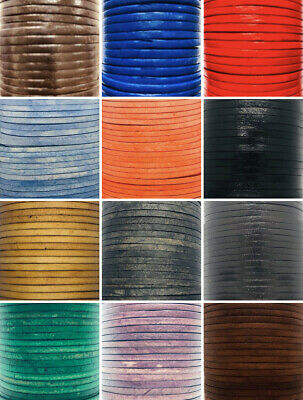 Flat 3mm Quality Leather Cord Lace 2m-10m Available Thong Leather Cord