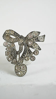 Victorian Bow Shaped Dress Clips with White Crystals 6503