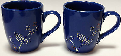 2 Martha Stewart Everyday Coffee Mugs Cups Blue Dots Floral Flowers MSE