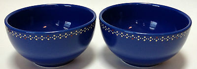 2 Martha Stewart Everyday Cereal Bowls Blue Dots Floral Flowers MSE
