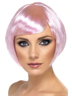 Pink Babe Wig Short Bob with Fringe Adult Womens Smiffys Fancy Dress Costume