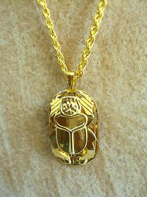Scarab Beetle Hand Carved Necklace Pendant Egyptian Jewelry pharaohs Costume 102