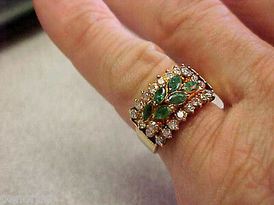 Beautiful Estate 14k Gold Emerald & Diamond Ring size 6-1/2    Make Offer