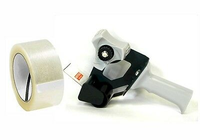 "Tape Gun Dispenser w/ 2"" Roll of Clear Packing Tape - Heavy Duty Construction"