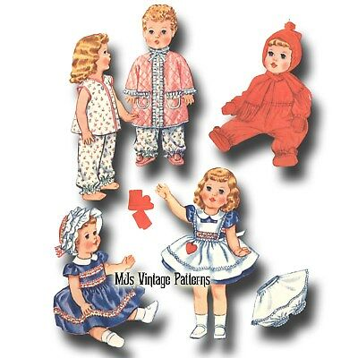 "Dy Dee Betsy Wetsy Vtg Baby Doll Dress Pattern ~ 15/"" 16/"" 17/""  Tiny Tears"