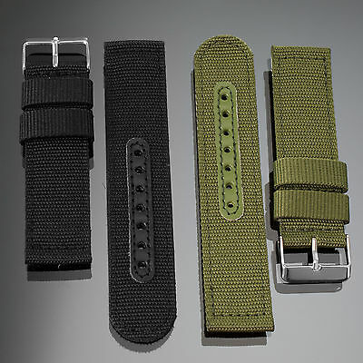 INFANTRY Military Army Black Green 20/22mm Nylon Fabric Canvas Watch Band Strap