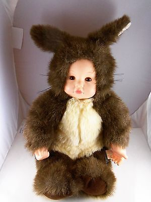 "Anne Geddes  Squirrel Baby Doll 15"" Plus 3"" ears  with Long Curly hair"