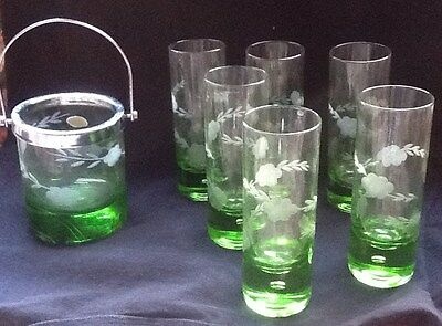 Ice Bucket with 6 Matching Glasses