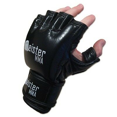 MEISTER 7 OUNCE PRO MMA GLOVES BLACK Authentic Leather Fight Grappling S M L XL