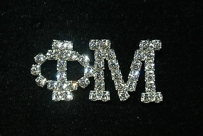 Large 'Phi Mu' CLEAR Crystal Sorority/Greek Pin- Officially Licensed