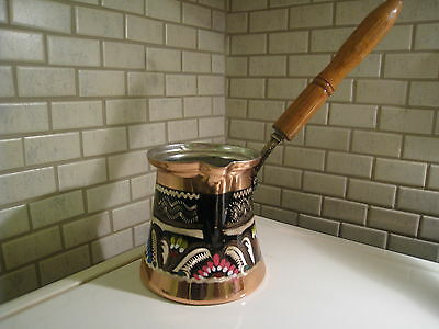 (XL-SIZE5) Turkish Traditional Handmade Coffee Maker Pot CEZVE with Woode Handle