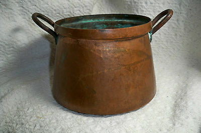 Antique Solid Copper Pot/Cauldron DBL Handle Dove Tailed Weighs Over 1 1/2 lbs.