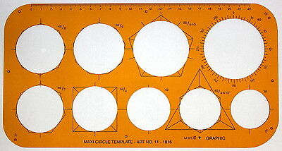 Large Metric Circle Circles Shapes Technical Drawing Drafting Template Stencil