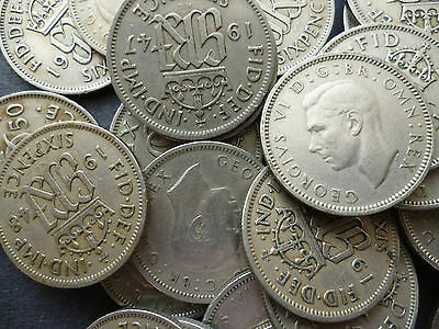 Sixpence Coin, King George The Sixth 1947 - 1951 Good Circulated Condition