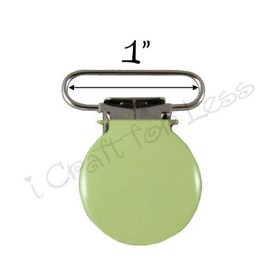 "50 Suspender Pacifier Holder Mitten Clips 1"" Lime  Enamel Round Face w/ Inserts"