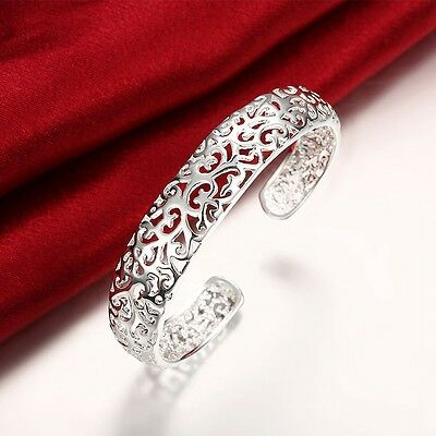 925 Sterling Silver Filled 13MM Lovely  Filigree Bracelet Bangle 7.5''