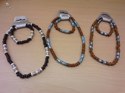 Tribal necklace and bracelet in 3 colours one sz elasticated material wood