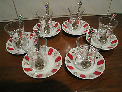 (SET OF 6)Turkish Traditional Tea Serving Set Glasses,Saucers,Spoons PASABAHCE