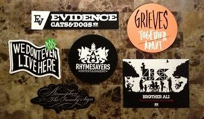 RHYMESAYERS Ltd Ed Hip-Hop Stickers Lot! ATMOSPHERE P.O.S BROTHER ALI EVIDENCE