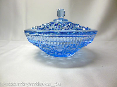 Indiana Glass Company Windsor Button Cane Design Blue Covered Candy Box Dish Lid