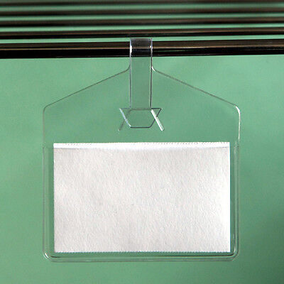 """2"""" x 1"""" Clear Hanging Label Holder Pouch/Pocket - Pack of 25"""