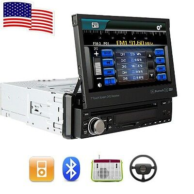 "Single 1DIN Retractable HD Car DVD Stereo Player 7"" Touch Screen Radio Bluetooth"