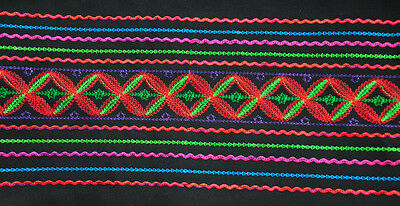 "7"" miao hmong tribal machinemade embroidery Colorful Lines Fabric Belt"