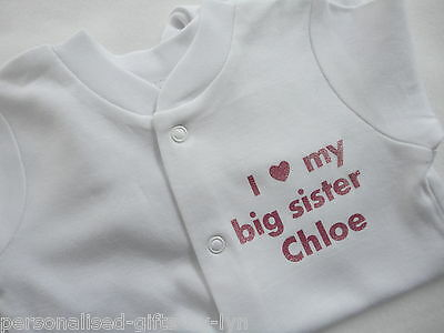 I LOVE MY BIG SISTER Personalised Babygrow - Sleepsuit