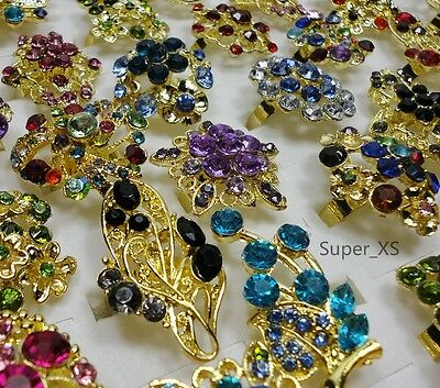 wholesale jewelry lots 6pcs vintage Rhinestone gold plated rings free shipping