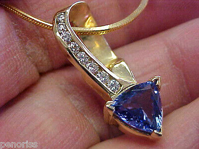Beautiful Estate Tanzanite & Diamond Pendant on 16 inch Necklace  14K Make Offer