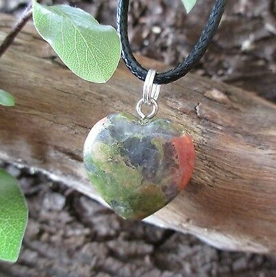 UNAKITE Heart Crystal Healing PSYCHIC VISIONS 3rd EYE Gemstone Pendant Necklace