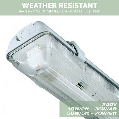 Single Weatherproof Non corrosive Fluorescent Lights 18W/2Ft 36W/4ft 58W/5Ft 6Ft