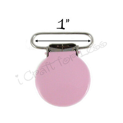 "Suspender Pacifier Holder Clips Round Enamel 1"" Bubble Gum Pink - FREE SHIPPING"