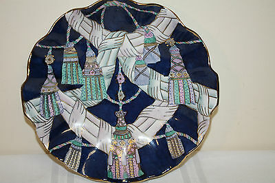 Oklahoma Importing Co.Tassels Fluted Blue Pastels Hand Painted Gold Accents Bowl